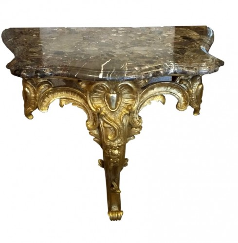 French Louis XV period carved and gilt wood console table, circa 1750