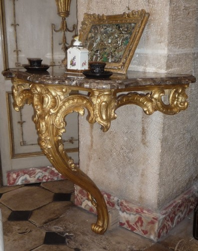 Furniture  - French Louis XV period carved and gilt wood console table, circa 1750