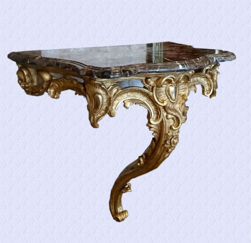 18th century - French Louis XV period carved and gilt wood console table, circa 1750