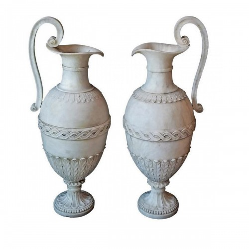Pair of French Directoire period carved alabaster amphorae, circa 1800