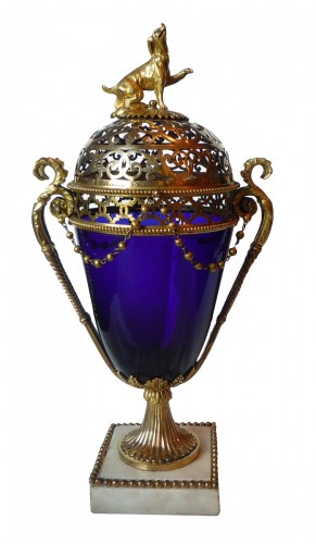 French Louis XVI period ormolu mounted blue glass vase, Le Creusot, 1780