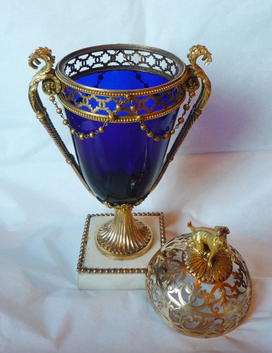 French Louis XVI period ormolu mounted blue glass vase, Le Creusot, 1780 -
