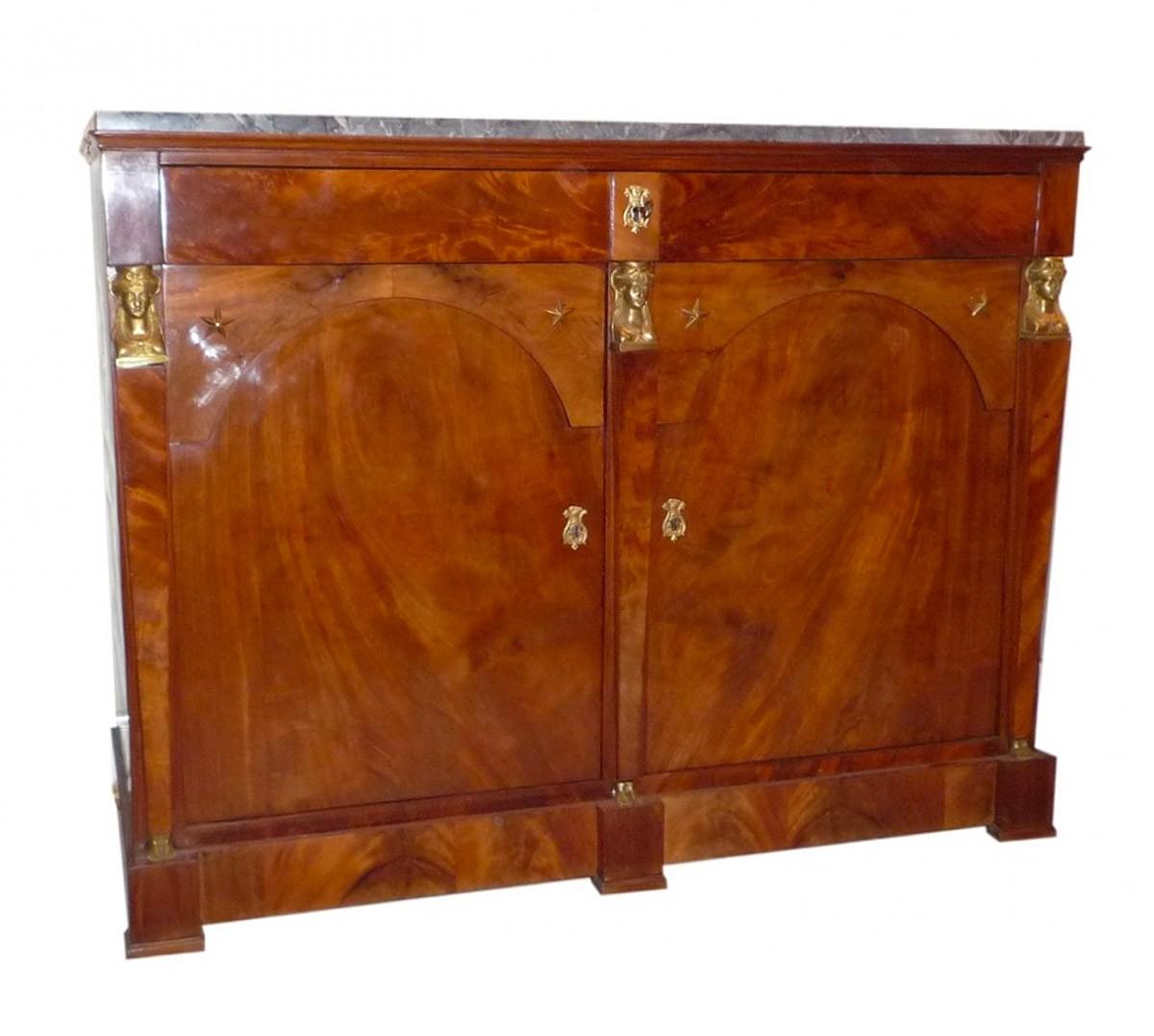 buffet en acajou deux portes poque empire estampill deman ain xixe si cle. Black Bedroom Furniture Sets. Home Design Ideas