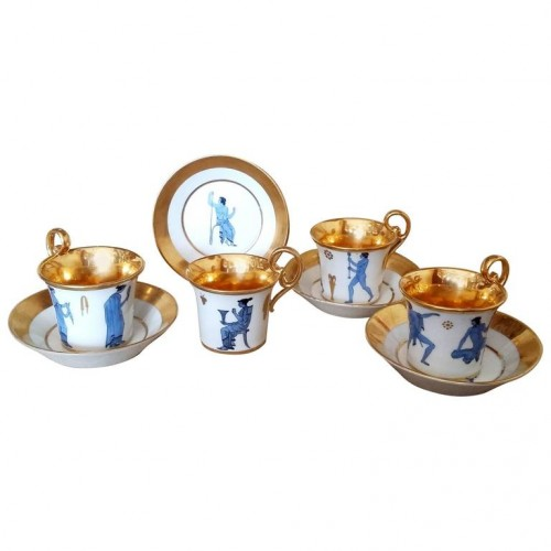 Four French Empire period porcelain cups and saucers, by Dagoty, circa 1800