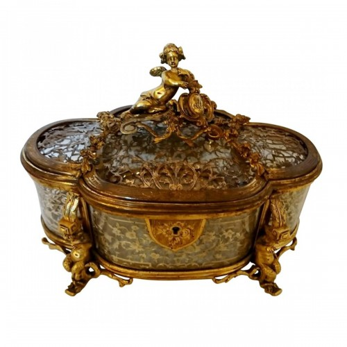 A gilt bronze, glass and silver filigree jewelry casket, GIROUX, circa 1865