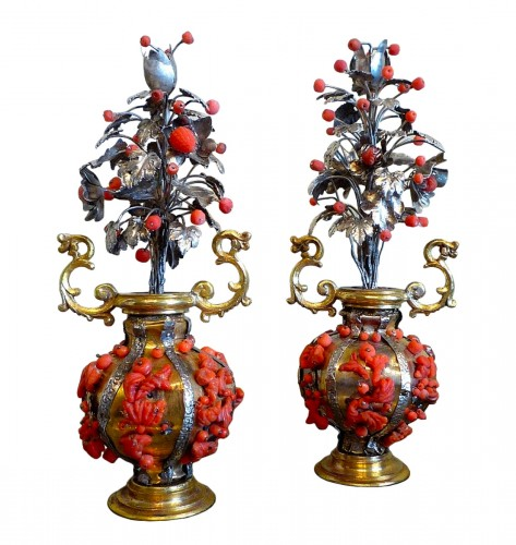 Pair of small Sicilian gilt brass, silver and Trapani coral vases, 17th c