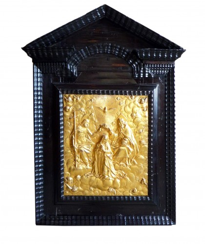 "Italian gilt bronze plaque ""Coronation of the Virgin"", Renaissance period"