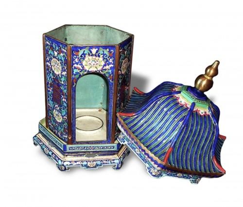 Chinese K'ien-Lung period pagoda shaped Canton enamel lantern, 18th C.