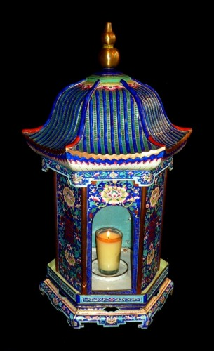 18th century - Chinese K'ien-Lung period pagoda shaped Canton enamel lantern, 18th C.