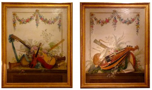 Pair of Louis XVI period oil paintings of Musical instruments