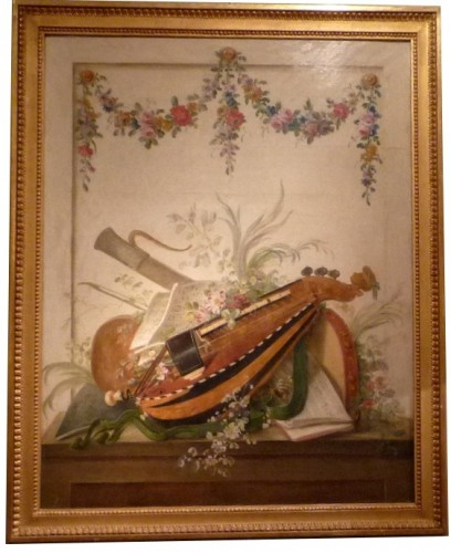 Pair of Louis XVI period oil paintings of Musical instruments - Paintings & Drawings Style Louis XVI