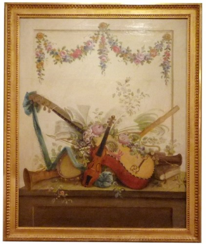 Paintings & Drawings  - Pair of Louis XVI period oil paintings of Musical instruments