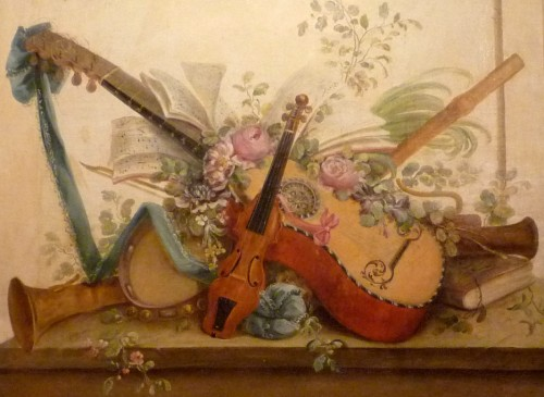 Pair of Louis XVI period oil paintings of Musical instruments -