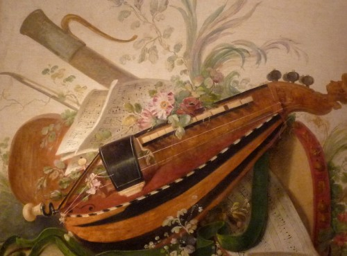 18th century - Pair of Louis XVI period oil paintings of Musical instruments