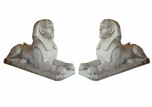 A pair of large French Empire period white marble sphinxes, circa 1800