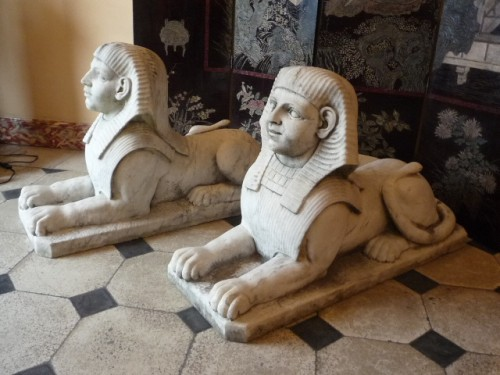 A pair of large French Empire period white marble sphinxes, circa 1800 -