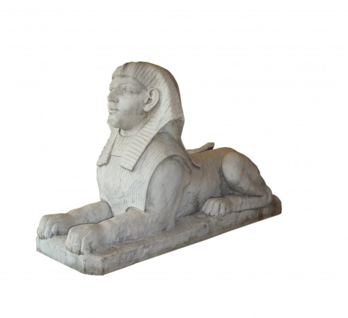 Empire - A pair of large French Empire period white marble sphinxes, circa 1800