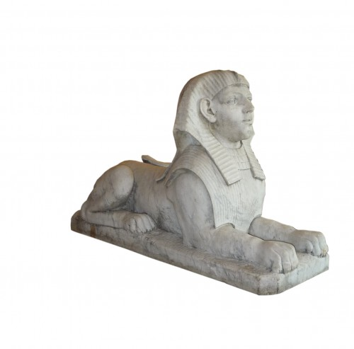 Antiquités - A pair of large French Empire period white marble sphinxes, circa 1800