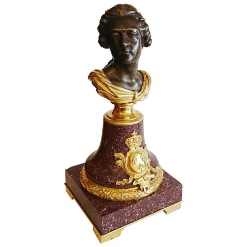 French porphyry, cast iron and ormolu bust of King Louis XV, circa 1820