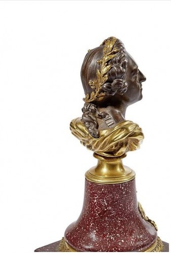 French porphyry, cast iron and ormolu bust of King Louis XV, circa 1820 - Sculpture Style Restauration - Charles X