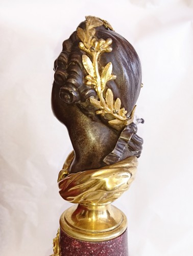 French porphyry, cast iron and ormolu bust of King Louis XV, circa 1820 -
