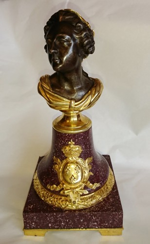 19th century - French porphyry, cast iron and ormolu bust of King Louis XV, circa 1820