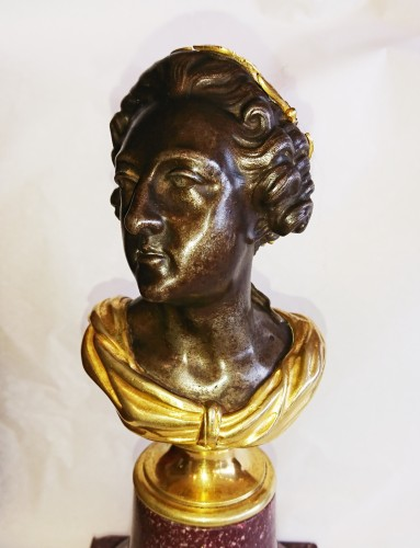 French porphyry, cast iron and ormolu bust of King Louis XV, circa 1820 - Restauration - Charles X