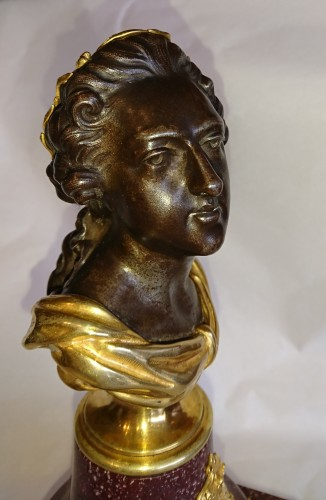 Antiquités - French porphyry, cast iron and ormolu bust of King Louis XV, circa 1820