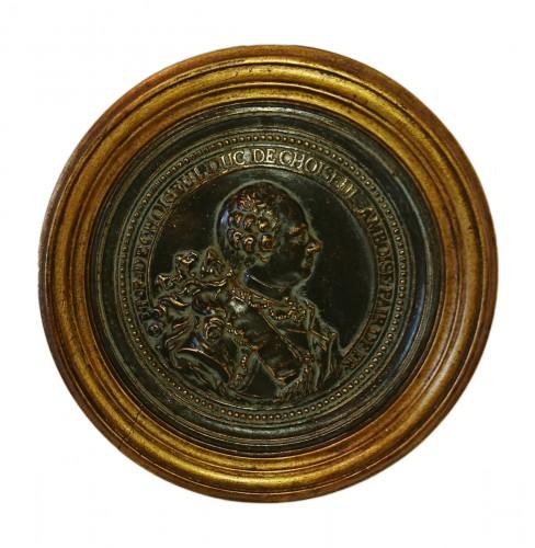 French Louis XV period bronze medalion of the Duc de Choiseul, circa 1765
