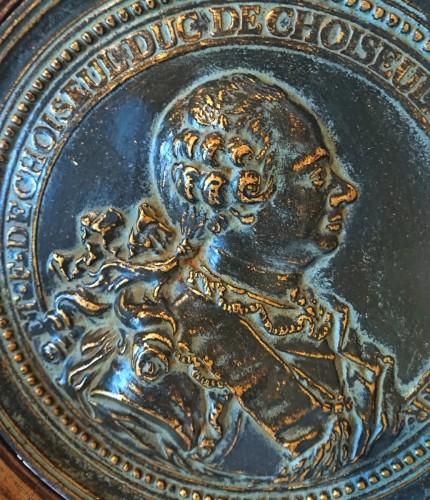 French Louis XV period bronze medalion of the Duc de Choiseul, circa 1765 -