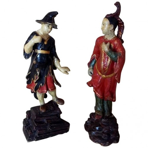 Venetian lacquered wood pair of Chinamen, circa 1750