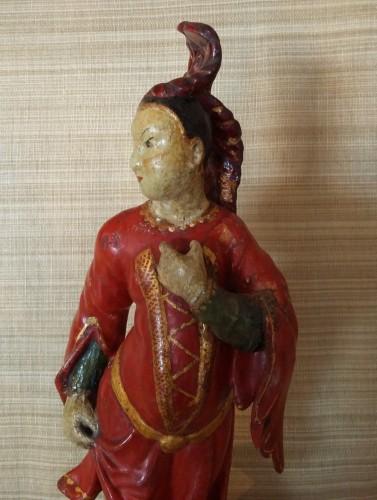 Sculpture  - Venetian lacquered wood pair of Chinamen, circa 1750