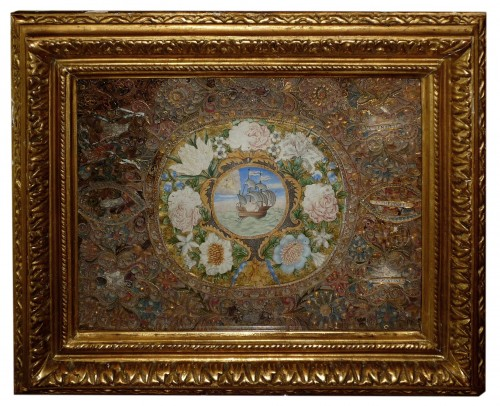 A French Louis XIV period reliquary frame with a gouache, circa 1700