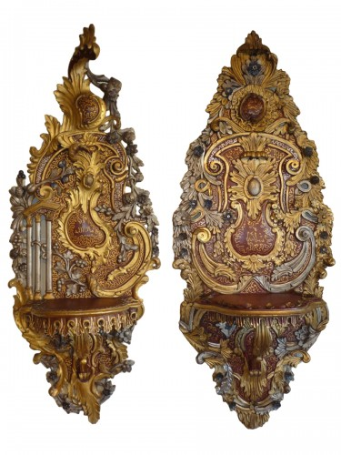 Two carved, painted and gilt wood Ottoman turban holders, 19th c.