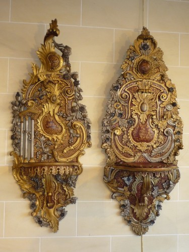 Two carved, painted and gilt wood Ottoman turban holders, 19th c. -