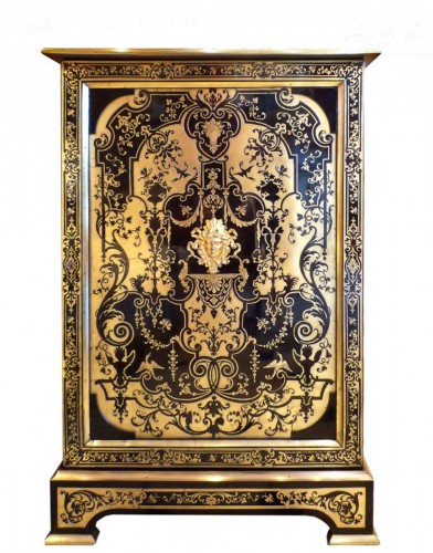 A French Louis XIV style Boulle marquetry on ebony cabinet