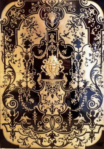 A French Louis XIV style Boulle marquetry on ebony cabinet -