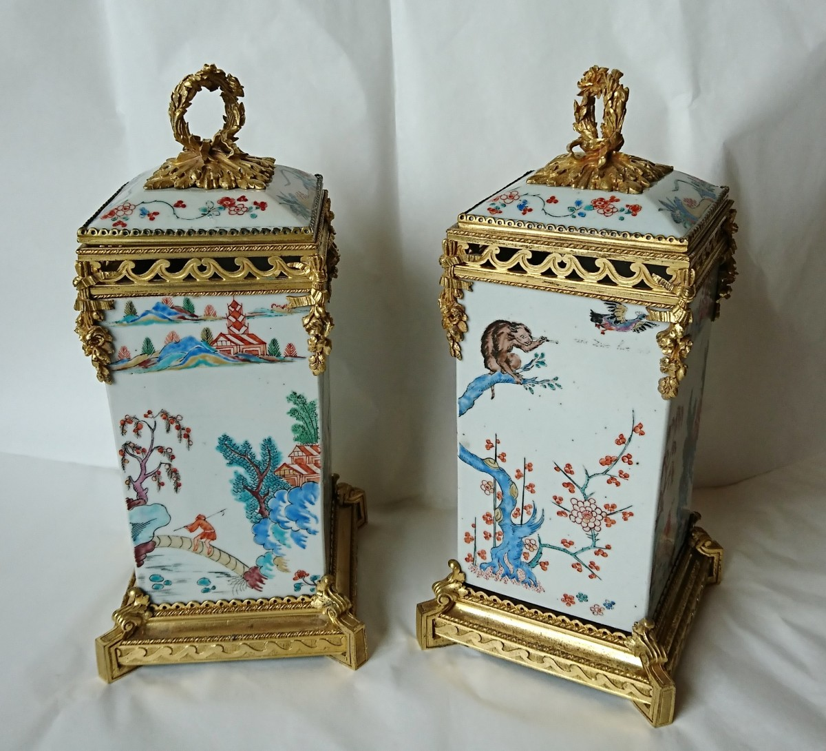 Pair of japanese vases c 1710 mounts signed lescalier de porcelain faience pair of japanese vases c floridaeventfo Image collections