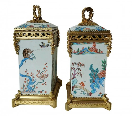 Pair of Japanese vases, c. 1710, mounts signed L'Escalier de Cristal