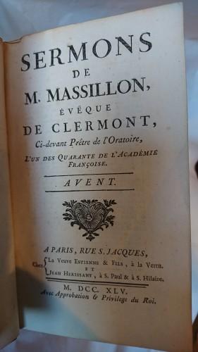 """""""Les Sermons de Massillon"""" Paris 1745 - Louis XV"""