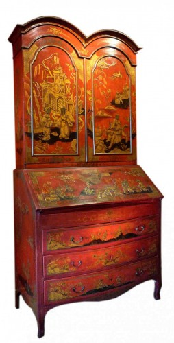 An English George II period lacquered bureau bookcase, c. 1740-50