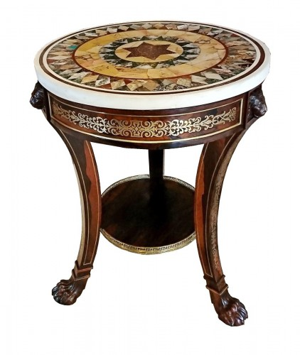 Regency rosewood and brass table, with specimen marble top, Bullock c. 1815