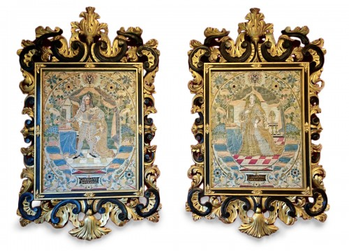 Emperor Karl VI von Habsburg and his wife : Austrian silk on gouache panels