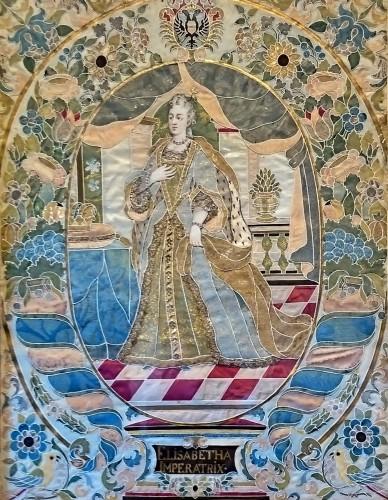 Emperor Karl VI von Habsburg and his wife : Austrian silk on gouache panels -