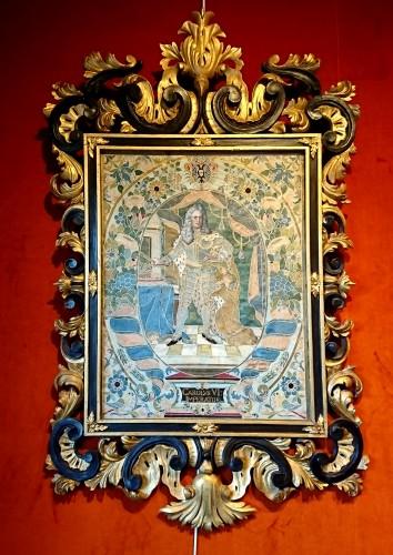 18th century - Emperor Karl VI von Habsburg and his wife : Austrian silk on gouache panels