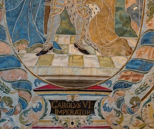 Emperor Karl VI von Habsburg and his wife : Austrian silk on gouache panels - Louis XIV