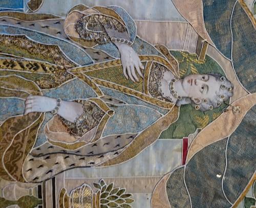 Louis XIV - Emperor Karl VI von Habsburg and his wife : Austrian silk on gouache panels