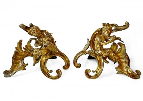 A pair of Louis XV period ormolu andirons, model by Caffieri