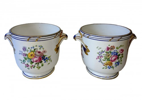 A pair of Sevres soft-paste bottle coolers, 1771 Bouillat
