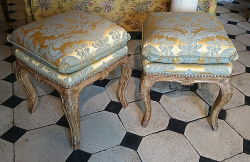 Seating  - A pair of North Italian carved and gilt wood square stools, circa 1750